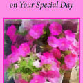 Pink Flower Card For Mother by Donald S Hall