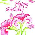 Pink Flowers Birthday Card by Irina Sztukowski