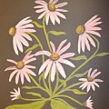 Pink Flowers With Brown Background by Teresa French McCarthy