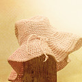 Pink Girls Hat On Farmyard Fence Post by Jorgo Photography - Wall Art Gallery