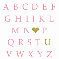 Pink Gold Abc Alphabet Heart Sampler Print by Pink Forest Cafe