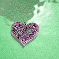 Pink Heart On Frosted Glass by Susan Newcomb