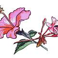 Pink Hibiscus And Geranium  by Irina Sztukowski