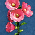 Pink Hollyhocks by Joyce Geleynse