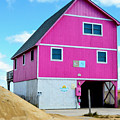 Pink House On The Beach 1 by Jeelan Clark