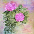 Pink Hydrangeas And Hostas by Olga Silverman