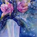 Pink Lilies In Vase by Sabina Von Arx