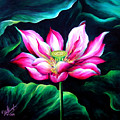 Pink Lotus From L.a. City Park by Sofia Metal Queen