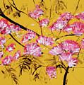Pink Mimosa Tree Dark Yellow 201642 by Alyse Radenovic