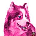 Pink Modern Siberian Husky Dog Art - 6024 - Wb by James Ahn
