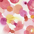 Pink Orange Yellow Abstract Watercolor by Beverly Brown