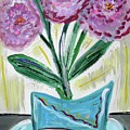 Pink Peonies-gray Table by Mary Carol Williams