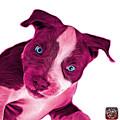 Pink Pitbull Dog Art 7435 - Wb by James Ahn
