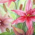 Pink Pixie Lilies by Joanne Smoley