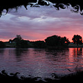 Pink Sunset Panorama With Black Framing by Carol Groenen