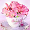 Pink Teacup Bouquet by Francesa Miller