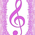 Pink Treble Clef With Pink Border by Lise Winne