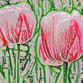 Pink Tulips With Block Effect by Donna Haggerty