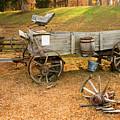Pioneer Wagon And Broken Wheel by Douglas Barnett