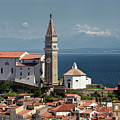 Piran Slovenia With St George's Cathedral Belfry And Baptistery  by Reimar Gaertner