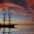 Pirate Ship At Sunset by Shane Bechler
