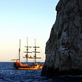 Pirate Ship Sunset Sea Of Cortez Cabo by Charlene Cox