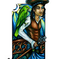 Pirate With Parrot Art by Kristin Aquariann