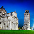 Pisa Cathedral With The Leaning Tower Of Pisa, Tuscany, Italy At Night by Michal Bednarek