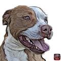 Pit Bull Fractal Pop Art - 7773 - F - Wb by James Ahn