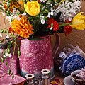 Pitcher Of Flowers Still Life by Garry Gay