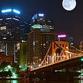 Pittsburgh Full Moon Panoramic by Frozen in Time Fine Art Photography