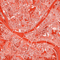 Pittsburgh Map Red by Bekim Art