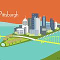 Pittsburgh Pennsylvania Horizontal Skyline - Orange by Karen Young
