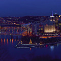 Pittsburgh Skyline At Night Christmas Time by Terry DeLuco