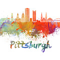 Pittsburgh V2 Skyline In Watercolor by Pablo Romero