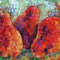 Pixelated Red Pears by Jean Groberg