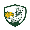 Pizza Chef Holding Pizza Shield Retro by Aloysius Patrimonio
