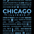 Places Of Chicago Blue On Black by Christopher Arndt