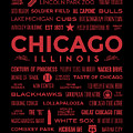 Places Of Chicago On Red On Black by Christopher Arndt