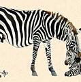 Plains Zebras Watercolor by Angeles M Pomata