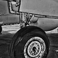 Plane - Landing Gear In Black And White by Paul Ward