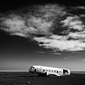 Plane Wreck Black And White Iceland by Matthias Hauser