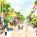 Playa Del Carmen Mexico Shops by Carlin Blahnik CarlinArtWatercolor
