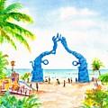 Playa Del Carmen Portal Maya Statue by Carlin Blahnik CarlinArtWatercolor