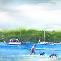 Playing With The Dogs At Rose Bay by Debbie Lewis