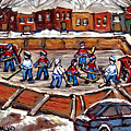 Playoff Time At The Local Hockey Rink Montreal Winter Scenes Paintings Best Canadian Art C Spandau by Carole Spandau