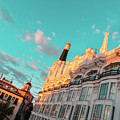 Plaza Santa Ana In Madrid Spain Brilliantly Sunlit In Teal And Orange by Georgia Mizuleva