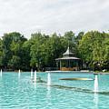 Plovdiv Singing Fountains - Bright Aquamarine Water Dancing Jets And Music by Georgia Mizuleva