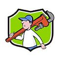 Plumber Holding Monkey Wrench Crest Cartoon by Aloysius Patrimonio