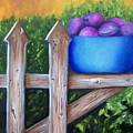 Plums On The Fence by Susan Dehlinger